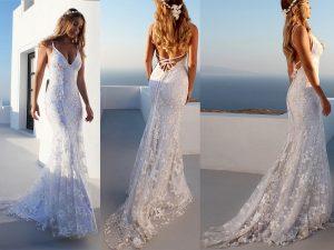 White Spaghetti Straps Backless Prom Dress Tulle Mermaid Beach Wedding Dress.jpg