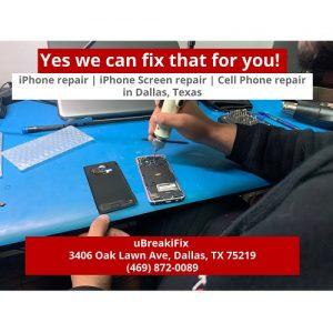 ubreakifix dallas tx iphone repair blue table with red blocks mans hand technical repair device.jpg